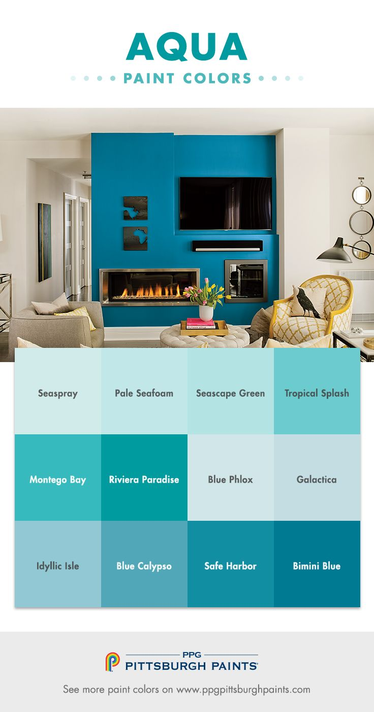 Aqua Paint Colors From Ppg Pittsburgh Paints Aquas Are Very Relaxing Because Of Their Relationship To The Sea And Lakes How Naturally We Relaxed