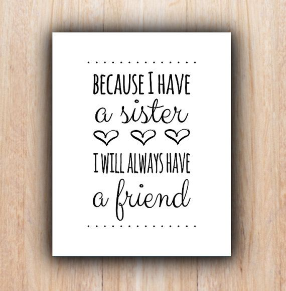 Sisters Quote Instant Download Nursery Sisters Wall Art