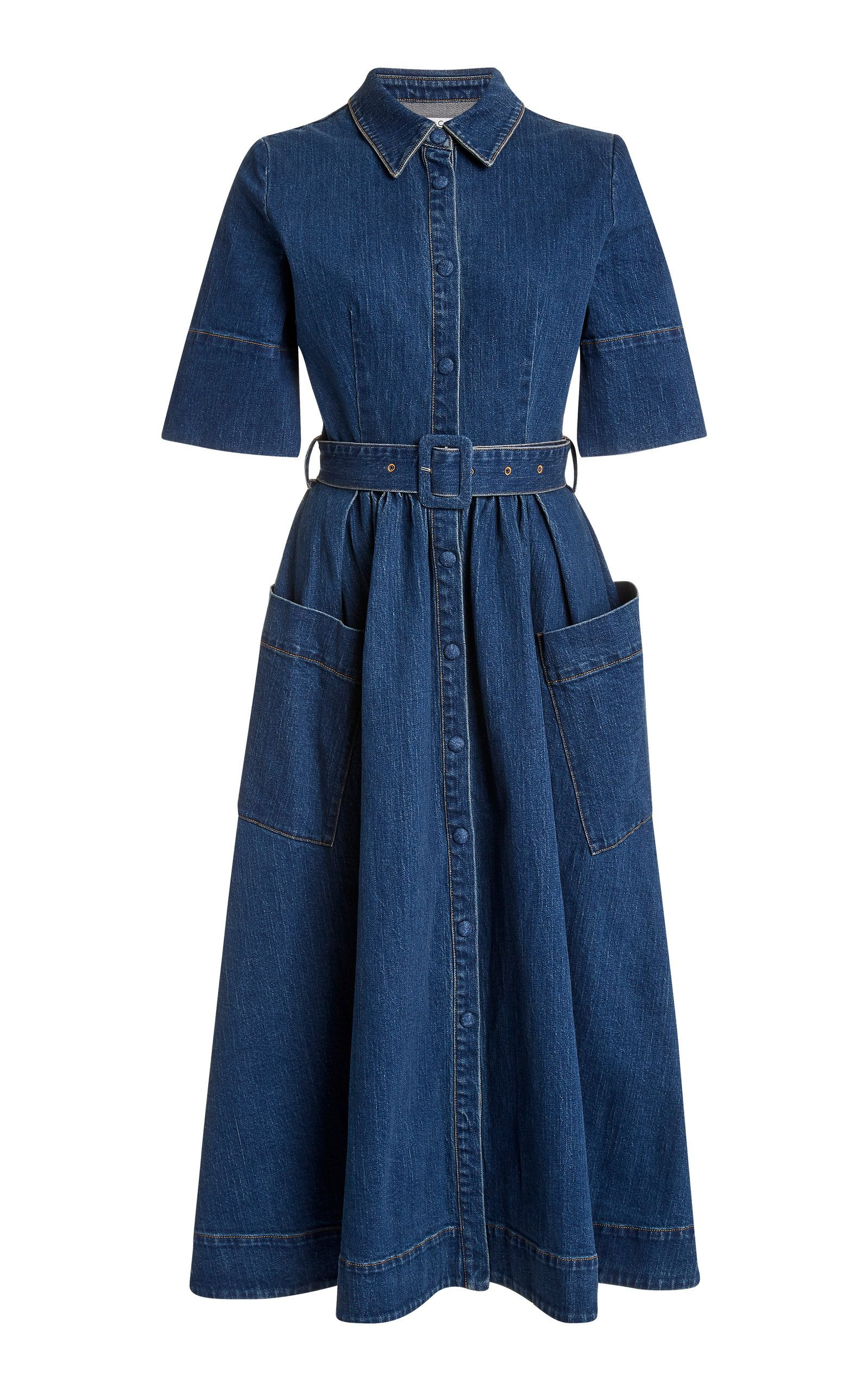 Belted Denim Maxi Dress by CO Now Available on Moda Operandi ...