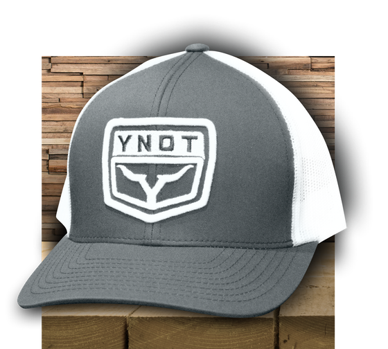 7f23f520a98 YNOT Lifestyle Brand Rodeo Apparel . Live life over the edge and show your  pride with this grey and white trucker style hats.