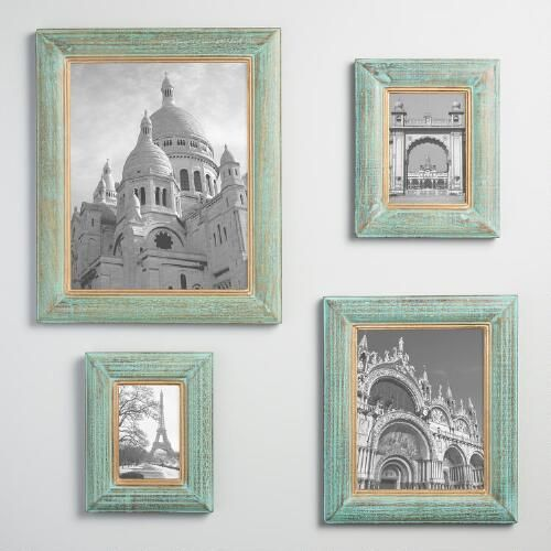 Our beveled wood frames feature a weathered blue-green finish for a ...