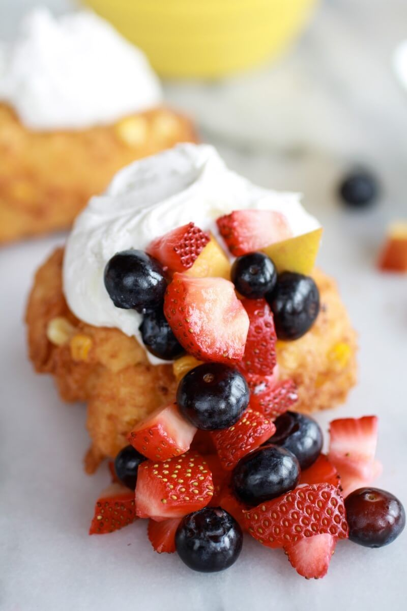 Corn Fritters with Coconut Whipped Cream and Sweet Honey Bourbon Syrup | http://www.halfbakedharvest.com/