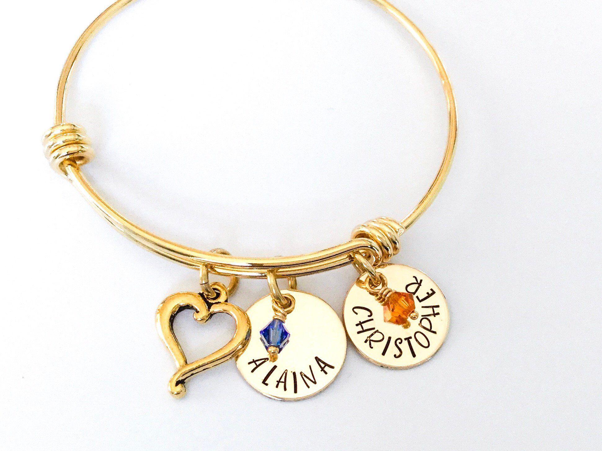 Personalised Custom Name Charm Bracelet Mom Grandma Birthstones Silver Gold Expandable Bracelet Stainles Moms Bracelet Personalized Gifts For Mom Gifts For Mom