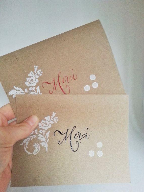 Wedding Thanks Yous French Merci By LilianWhitePackaging