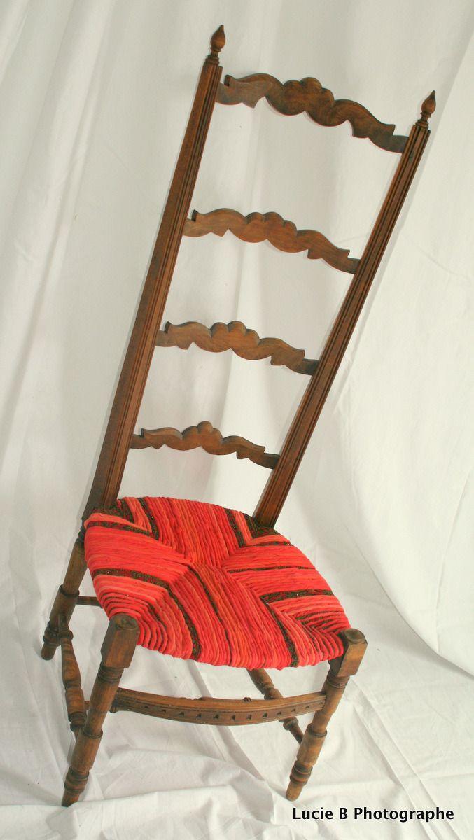 Ancienne Chaise De Nourrice Paille Relooke Avec Un Paillage En Torons Tissus Couleurs