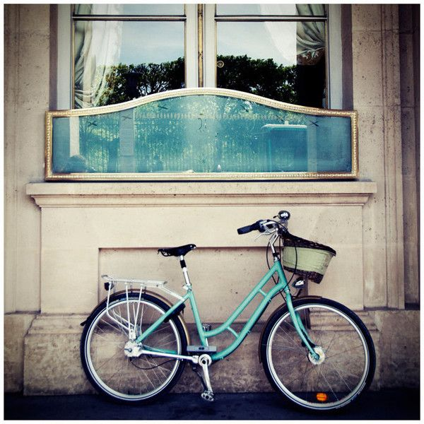 mint green paris bicycle photo print - whimsical fine art photography,... (€40) ❤ liked on Polyvore featuring backgrounds, pictures, photos, blue, pics, filler, borders and picture frame