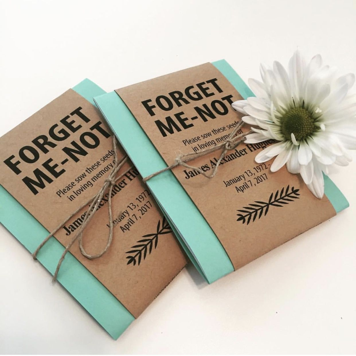 Custom seed packets funeral favors