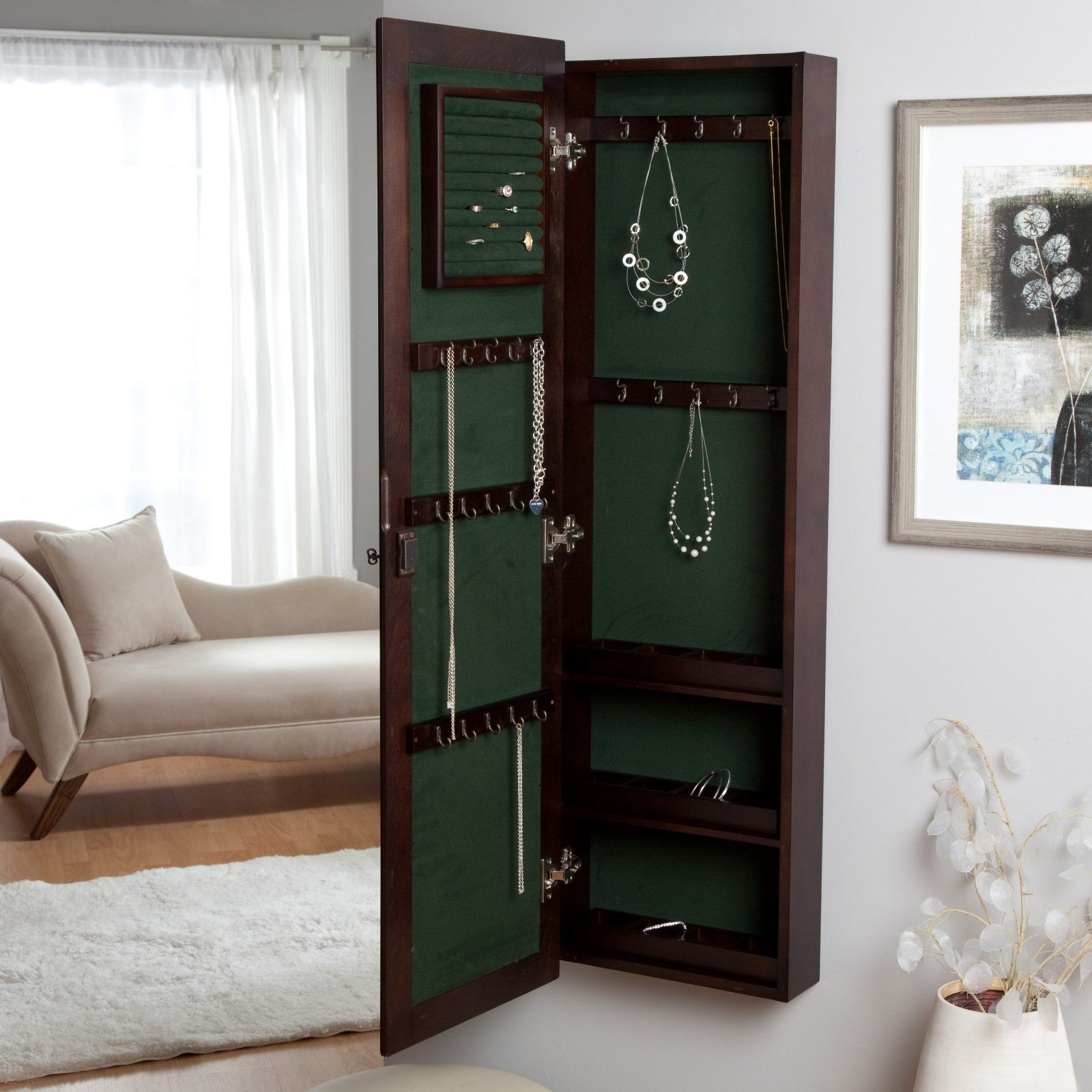 Wall Mounted Wooden Jewelry Armoire Jewelry Armoires At