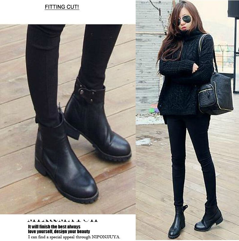 Waterproof Ankle Boots Women Casual PU Leather Boots | Alibaba ...
