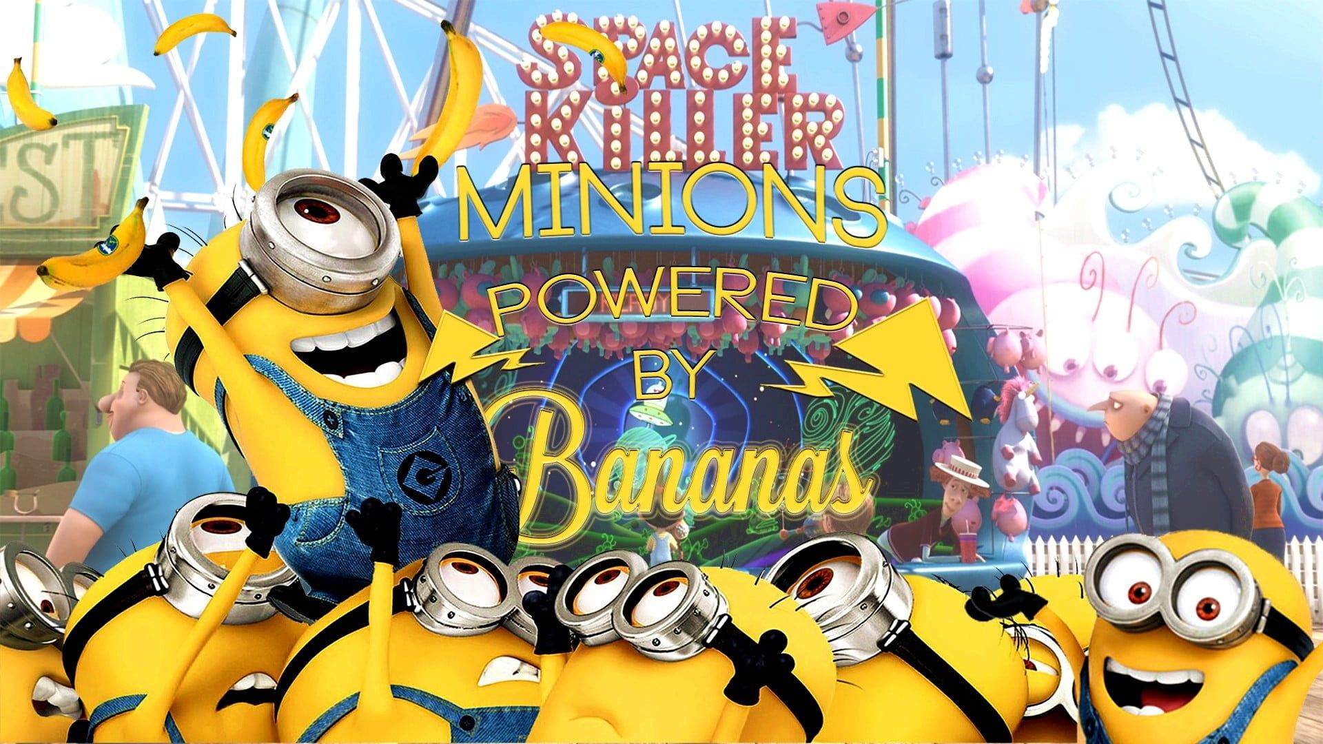 Minions Wallpaper Minions Despicable Me Bananas Happy 1080p Wallpaper Hdwallpaper Desktop Minions Wallpaper Minions Hd Wallpaper