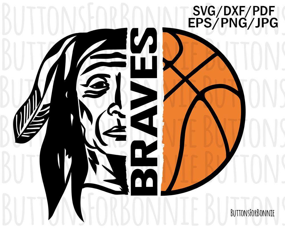 Braves Mascot Basketball Svg Braves Basketball Basketball Etsy Basketball Shirts Basketball Tshirt Designs Basketball Mom