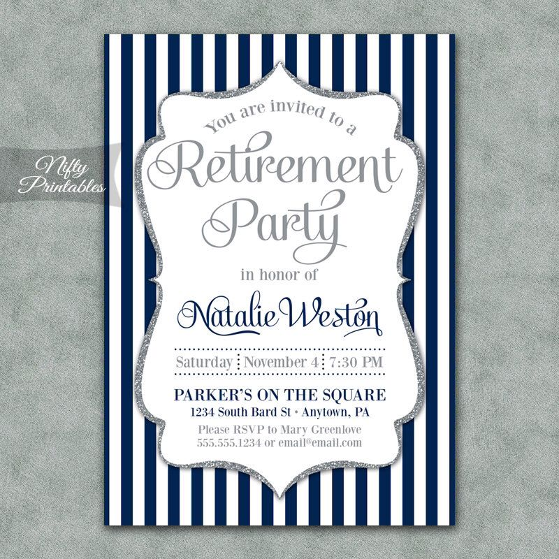Retirement Invitations  Printable Silver  Navy Blue Retirement