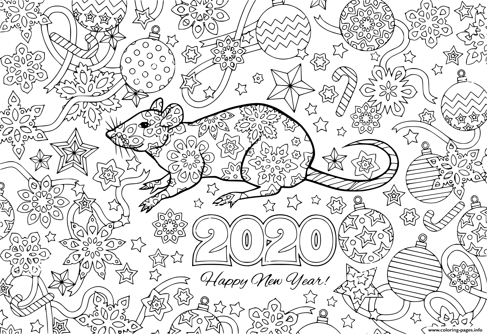 Print New Year 2020 Rat And Festive Objects Image For Calendar Coloring Pages New Year Coloring Pages Coloring Pages Printable Coloring Pages