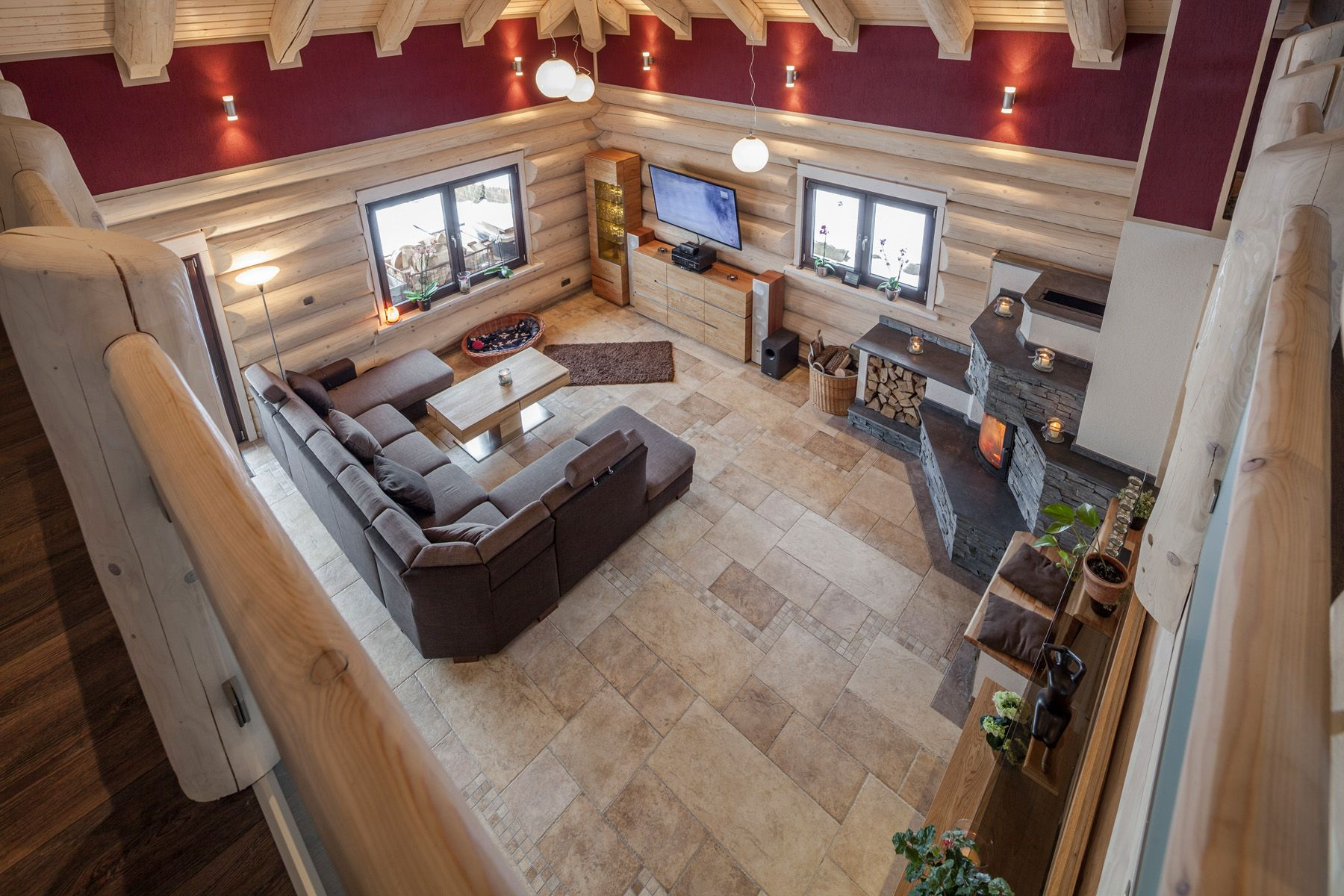 der lebensraum naturstammhaus - Modernes Wohnzimmer Des Innenarchitekturlebensraums