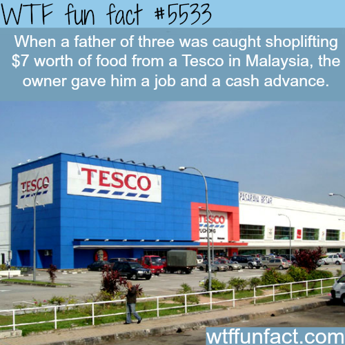 Tesco gives a job to a man who was shoplifting from it's store - WTF fun facts