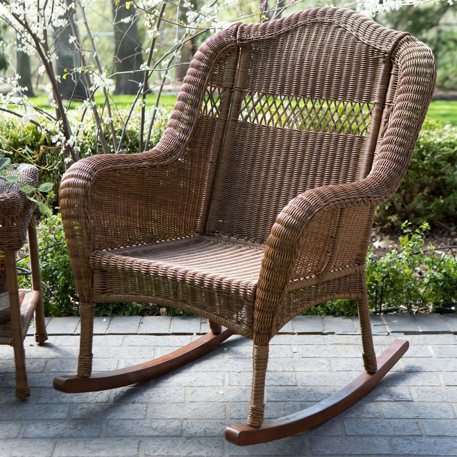 Indoor Outdoor Patio Porch Walnut Resin Wicker Rocking Chair Wicker Rocking Chair Patio Rocking Chairs Rocking Chair