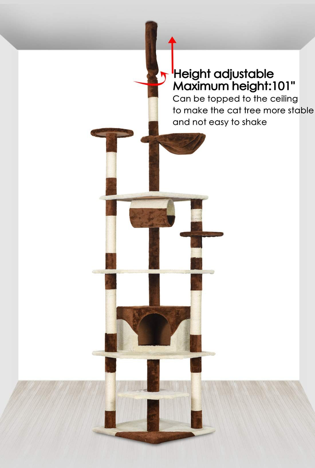 Good Life X Large 96102 High Adjustable Floor To Ceiling Cat Tree Pet House Kitty Condo Furniture Tall Cats Climb Cat Coffee Cat Climbing Tower Condo Furniture