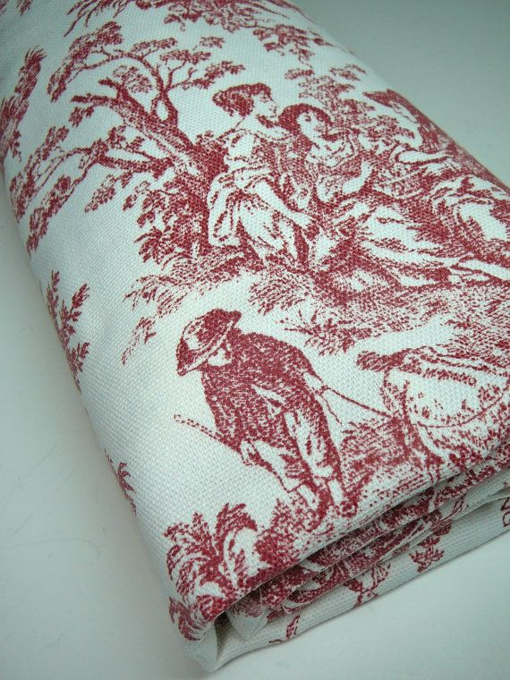 Red Toile Fabric 1 YD Waverly Rustic Life French Country 1 Yard ...