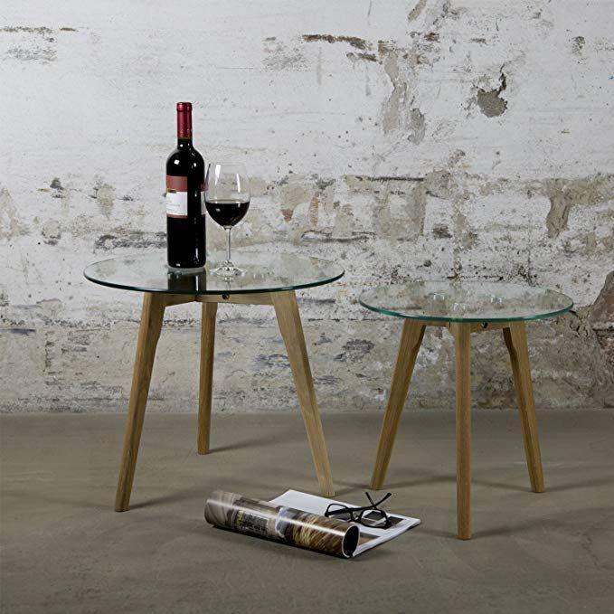 Homestyle4u 1822 Beistelltisch Glas Holz 2 Er Set Rund