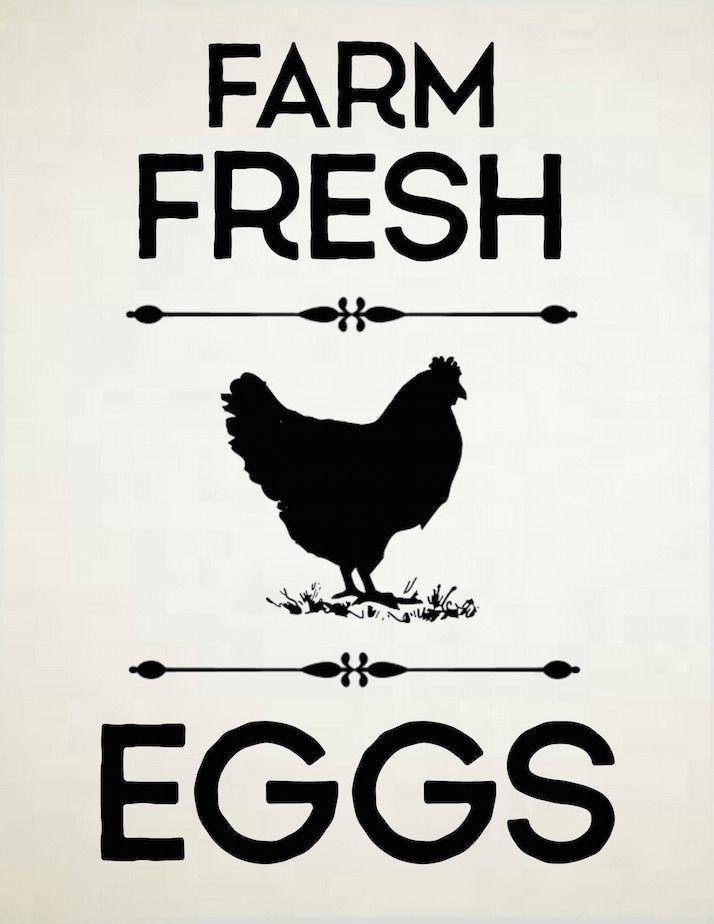 Free Farmhouse Printable Farm Fresh Eggs Hen Silhouette