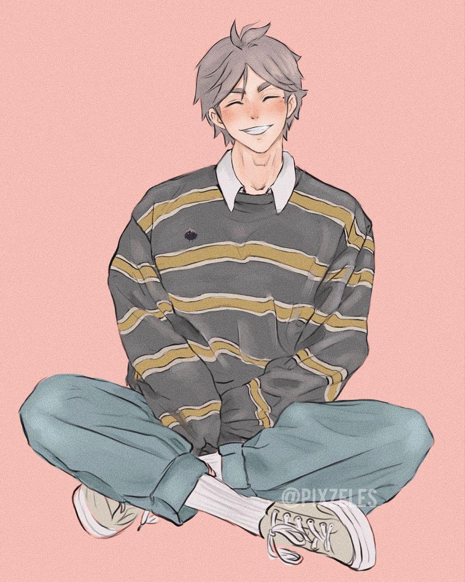 Photo of Sugawara in a cute Soft Boy fit