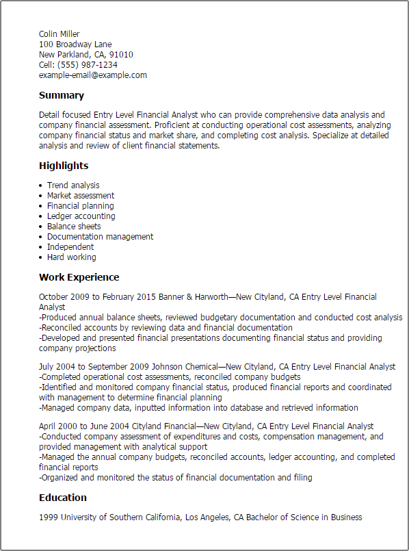 Entry Level Financial Analyst Png 598 805 Pixels Business Analyst Resume Financial Analyst Resume Summary