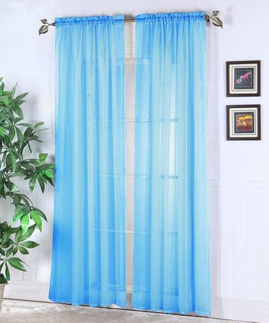 Sky Blue Abby Sheer Voile Curtain Panel   Set Of Two
