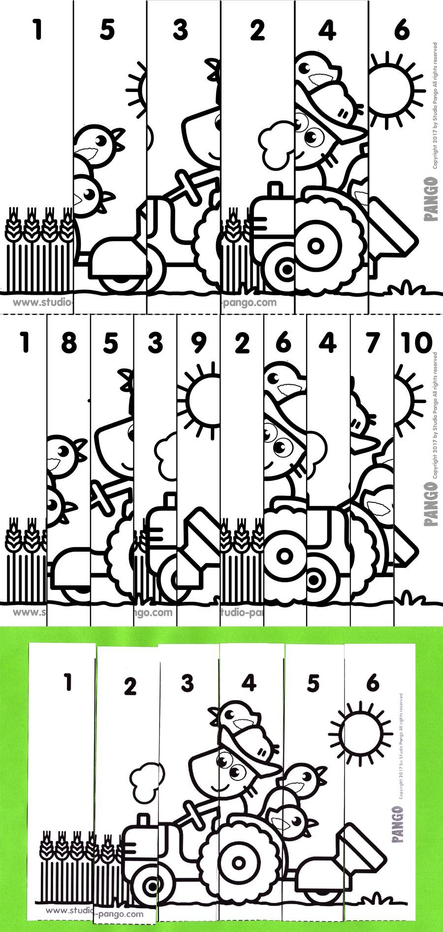 Tractor numerical puzzle #count to 6 #to 10 #maternelle ...