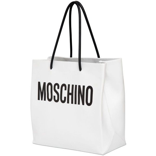 Moschino Moshino Shopping Leather Tote Bag 766 Liked On Polyvore Featuring Bags Handbags To Leather Shopper Bag Leather Tote Purse Leather Handbags Tote