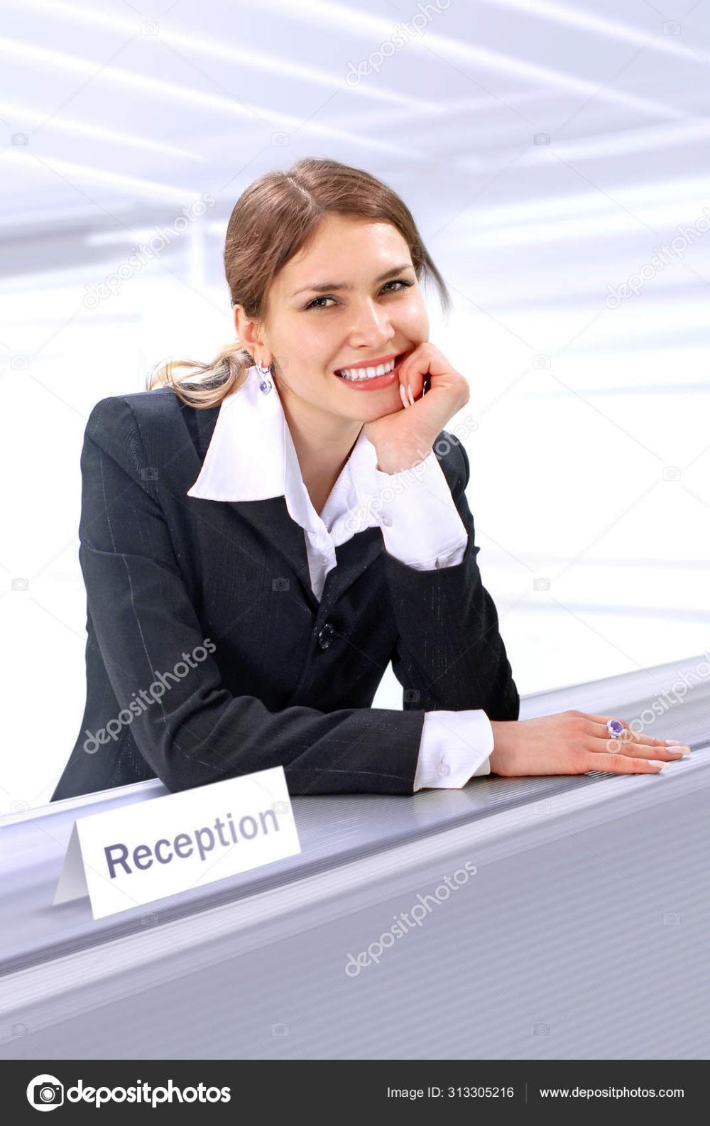 Download Beautiful reception clerk — Stock Image in 2020