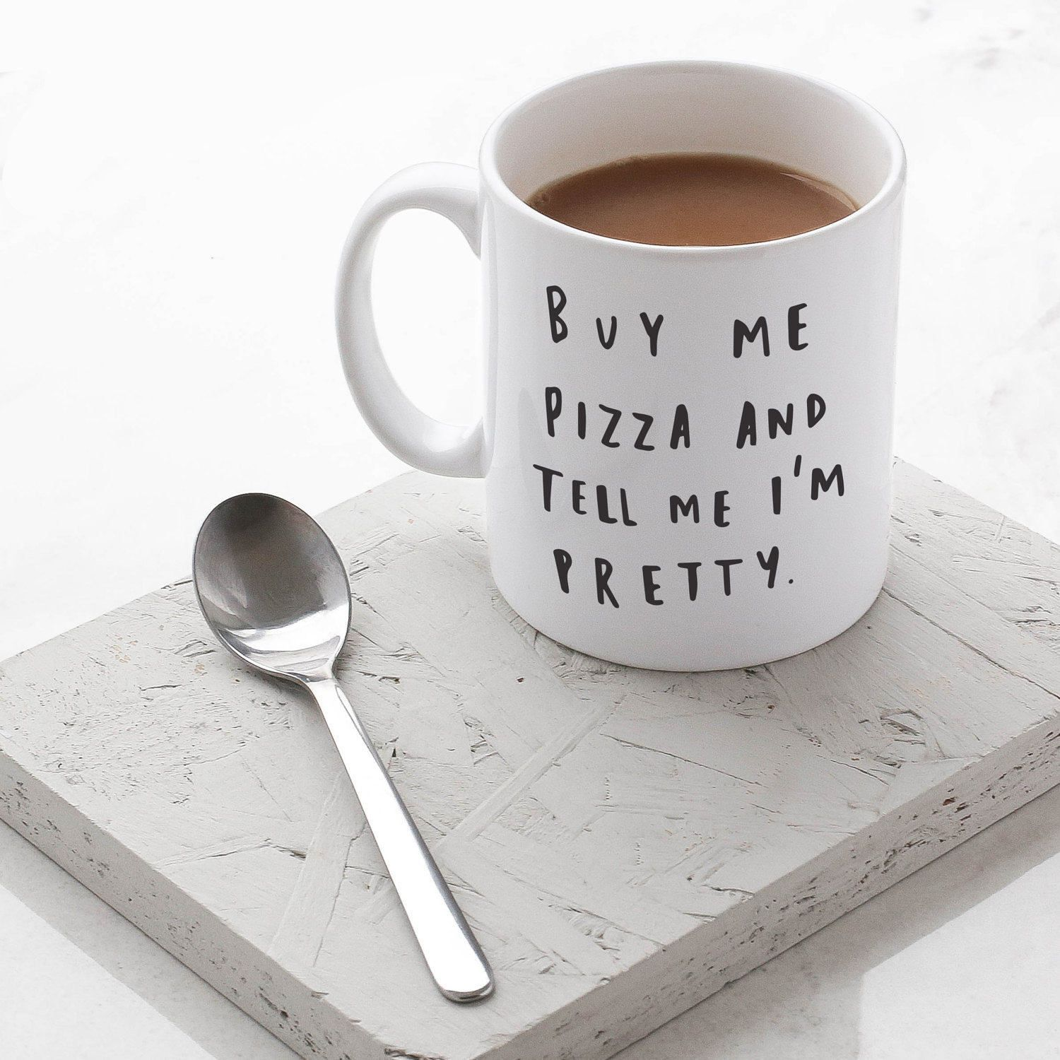 Me Pizza Mug Hand Lettered Typography Gift For Her