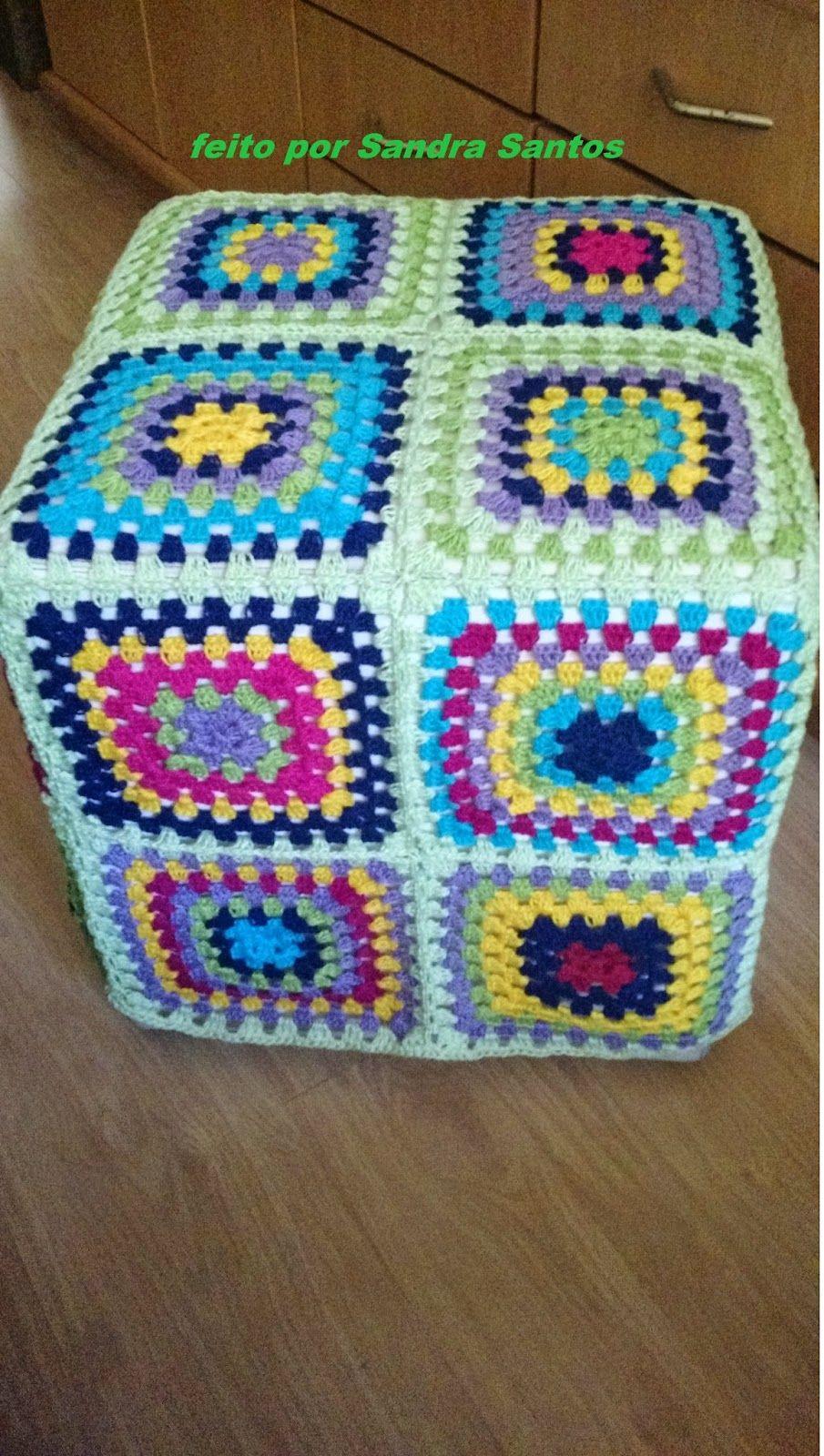 Fada do Crochet: CAPA PARA PUFF COM FIO ANNE | Quadrate | Pinterest ...