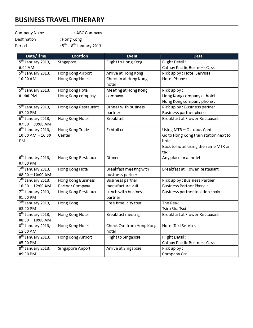 Business itinerary template how to plan a business trip business itinerary template how to plan a business trip efficiently it all starts with flashek Gallery