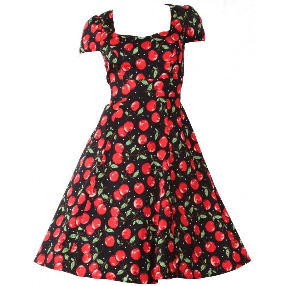 4ba53122615b Claudia Flirty Fifties Style Cherry Dress - Dolly and Dotty