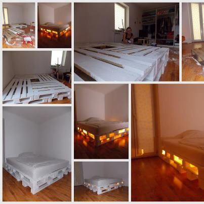 Diy glowing palette bed pallets for Pallet bed frame instructions
