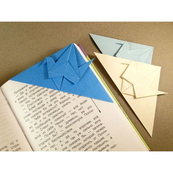 Origami Crane Bookmark Set Of 3 Blue, Dark Blue And Cream Handmade