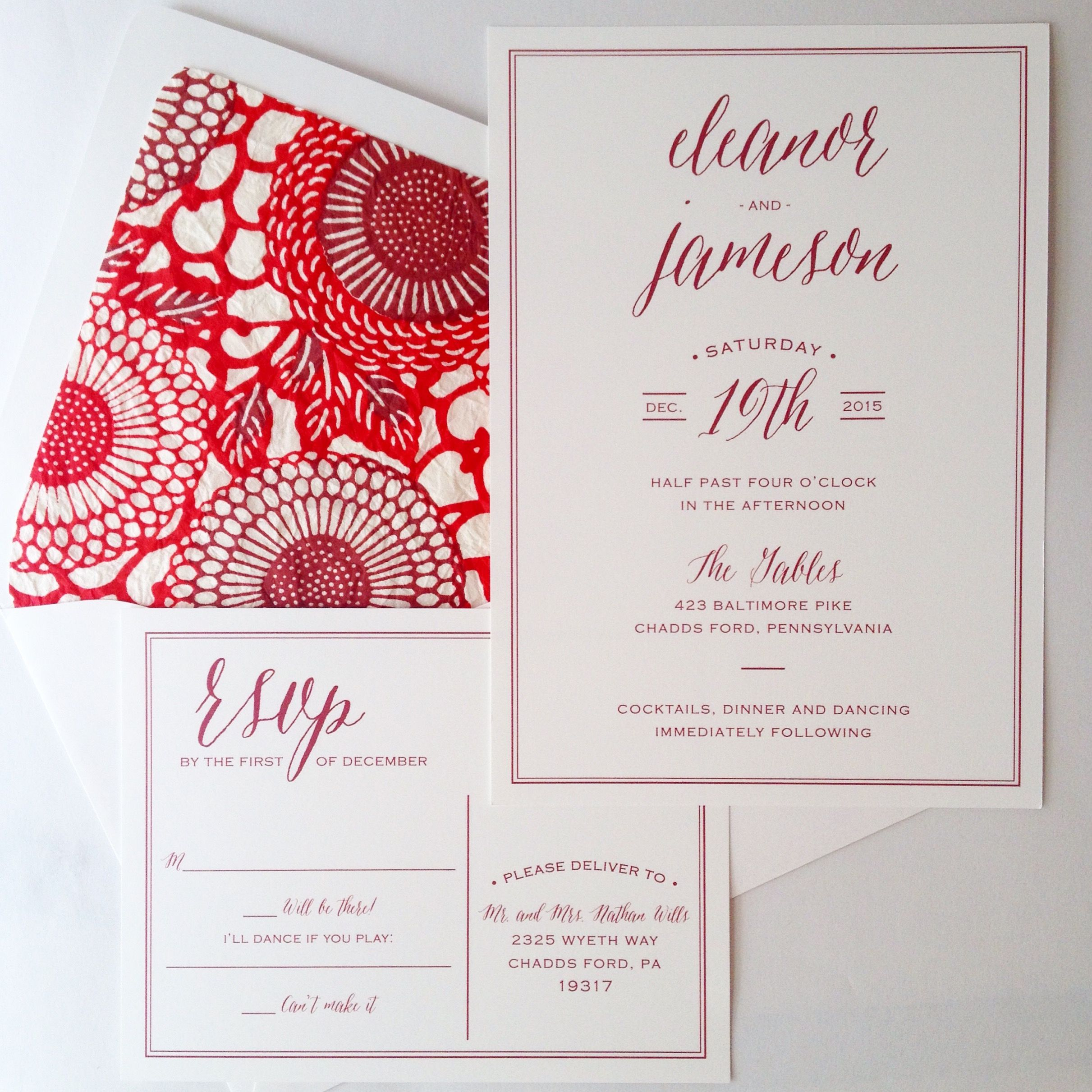 Simple, elegant wedding invitation. #calligraphy #floral #red ...