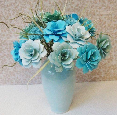 Paper Flower Arrangement Ideas: Handmade Paper Flower Arrangement, Blue, By Carole Anne