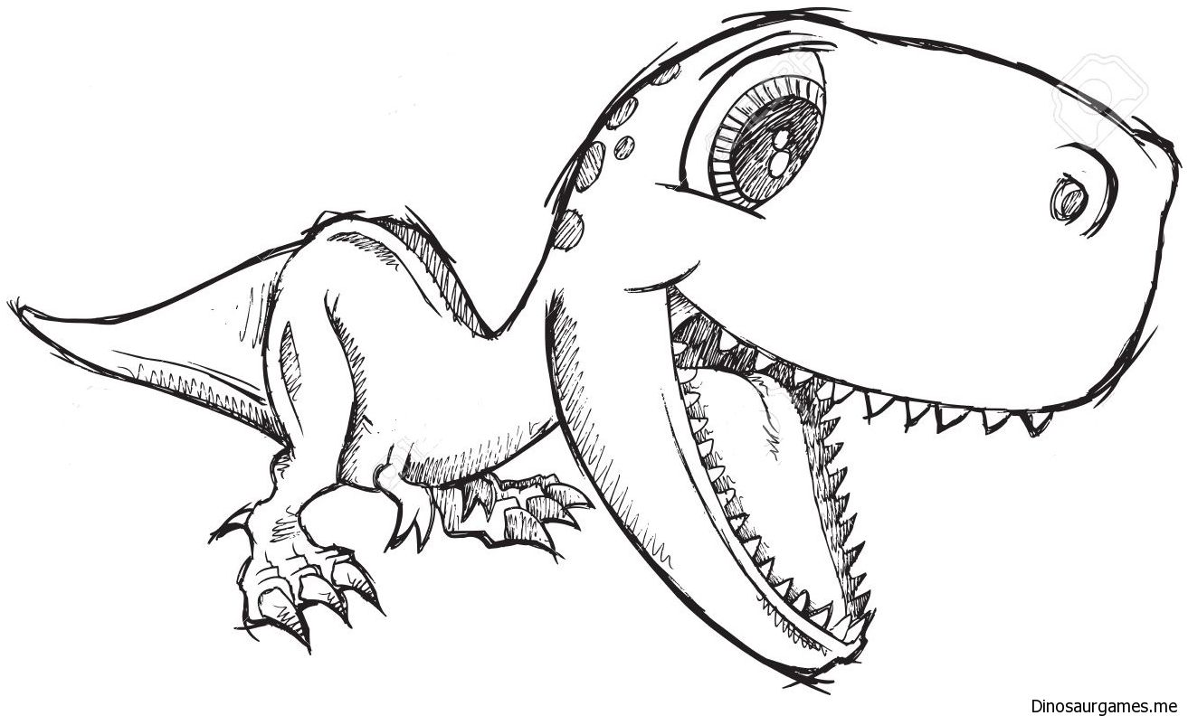 Cute Dinosaur Coloring Pages Dinosaur Drawing Dinosaur Coloring