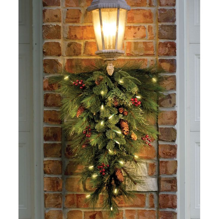 Christmas Swags for Outdoors | Decorated Teardrop Swag for outdoor sconces.  We don't have any . - Christmas Swags For Outdoors Decorated Teardrop Swag For Outdoor