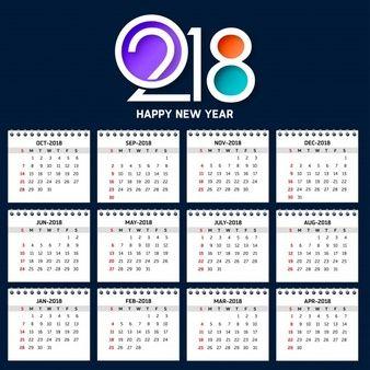Plantilla moderna de calendario para 2018 graficas - Plantilla calendario de mesa ...