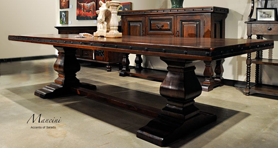 Long Spanish Hacienda Style Dining Table Wred Ironwork Belts Nailhead Trim Hand Carved Pedestal Feet