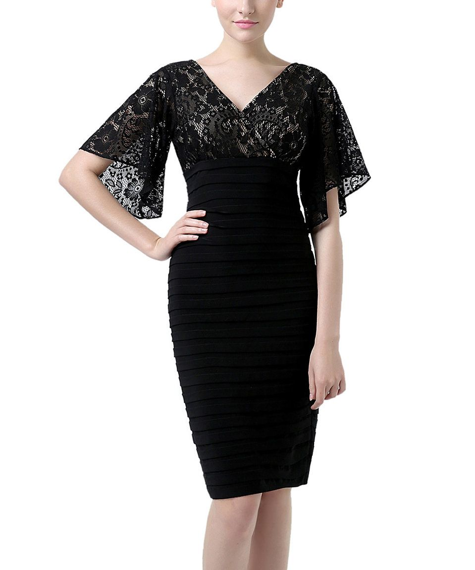 Lace dress with cape  Phistic Black LaceAccent CapeSleeve Sarah Bodycon Dress  Plus