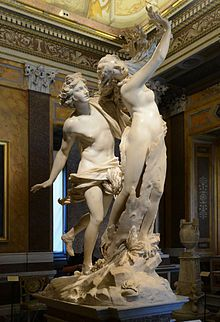 This photo depicts the story of Apollo and Daphne. Cupid shot Apollo with a bow to make him fall in love with Daphne meanwhile Cupid made Daphe repulsed by Apollo and she fled. This photo shows Apollos lust for Daphne which lead to her begging her father for help to get away from him and being turned into a laurel tree. This statue: Gian Lorenzo Bernini's Apollo and Daphne