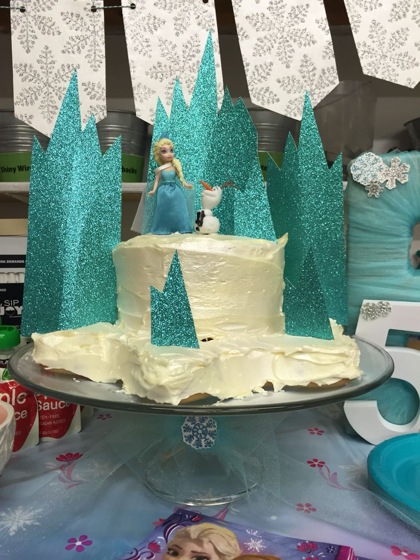 Frozen cake for 5 year old birthday party (With images