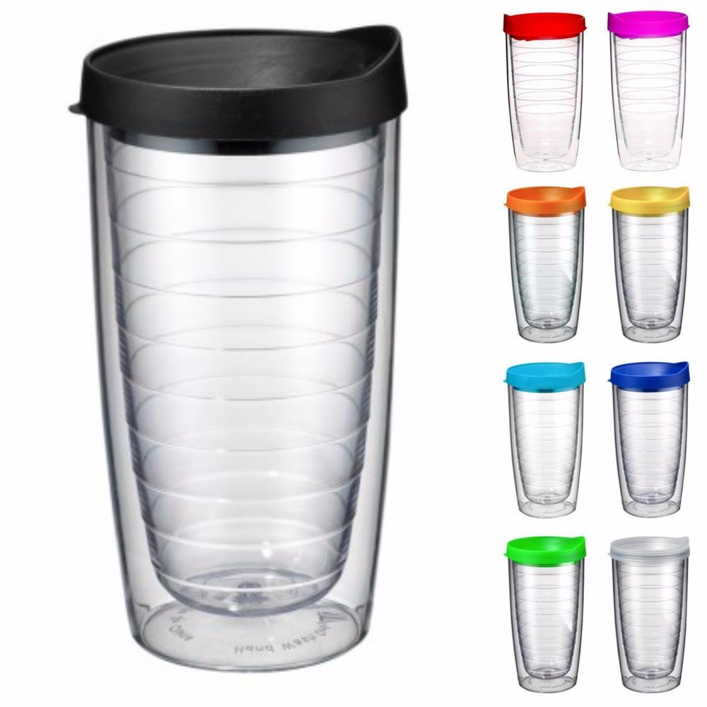 Blank Clear 16 Oz Double Wall Insulated Tumbler Travel Cup Mug Choose Color Lid
