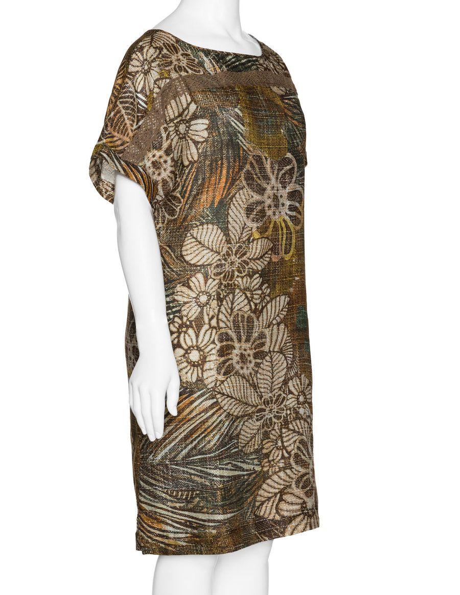 Elena Miro Allover-Print-Kleid aus Leinen in Hell-Braun / Bunt ...