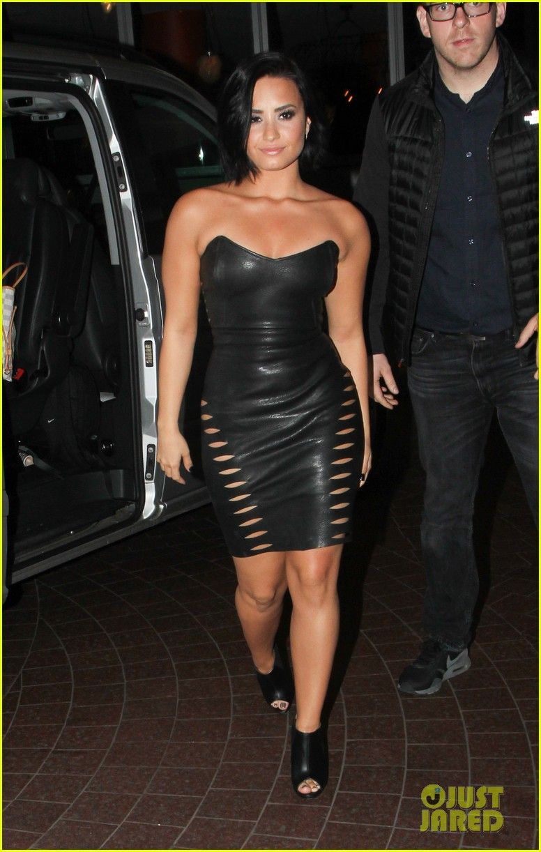 Demi lovato rocks tight leather dress in london demi lovato fans