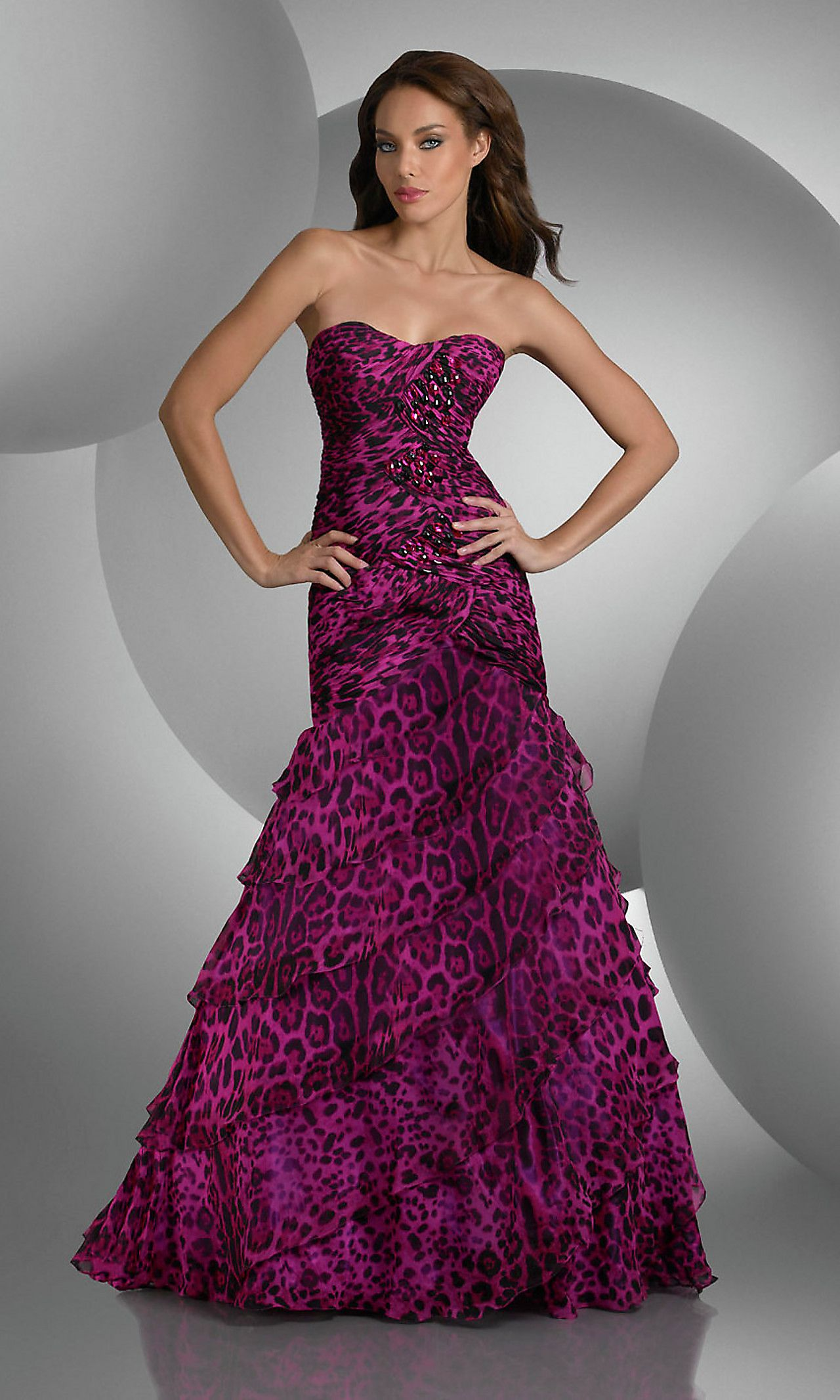 Strapless Animal Print Prom Gown by Bari Jay | All About Animal ...