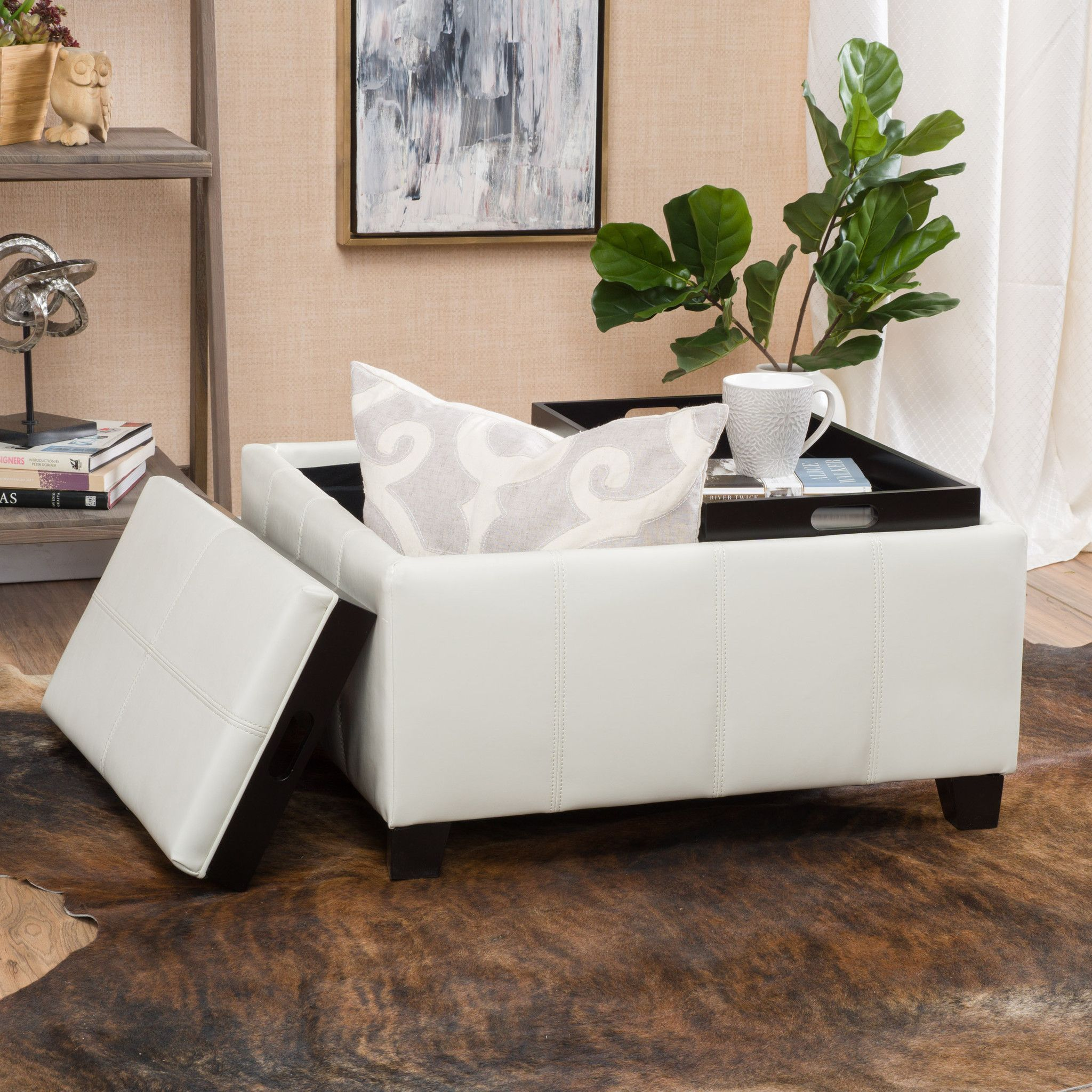 Justin 2-Tray-Top Ivory Leather Ottoman Coffee Table w/ Storage